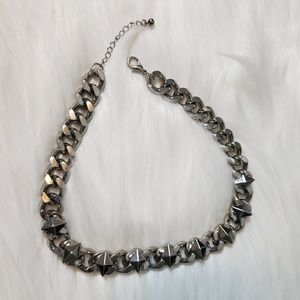Heavy silver thick link necklace with diamond stud